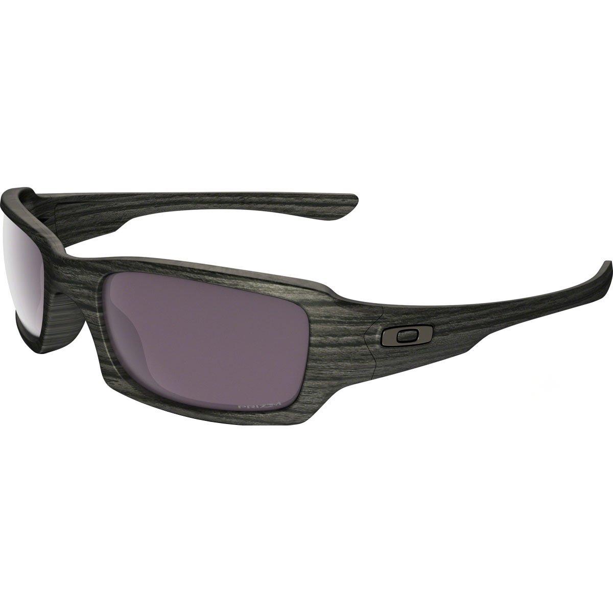 Oakley Men's Fives Squared Polarized Iridium Rectangular Sunglasses, Woodgrain, 54 mm