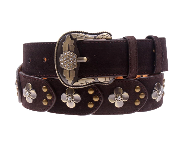 Herebuy - Vintage Leather Belts for Women Western Cowgirl Rhinestone Belts