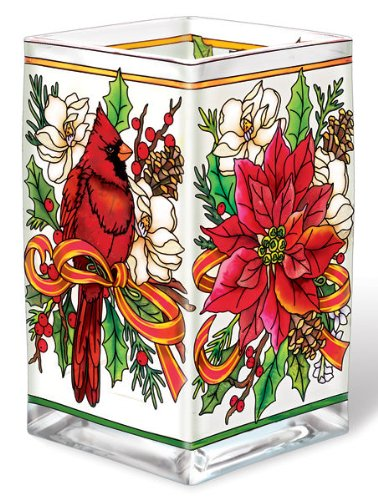 - Amia 5739 Holiday Bouquet Design Hand-Painted Glass Vase/Votive, 6-Inch Tall