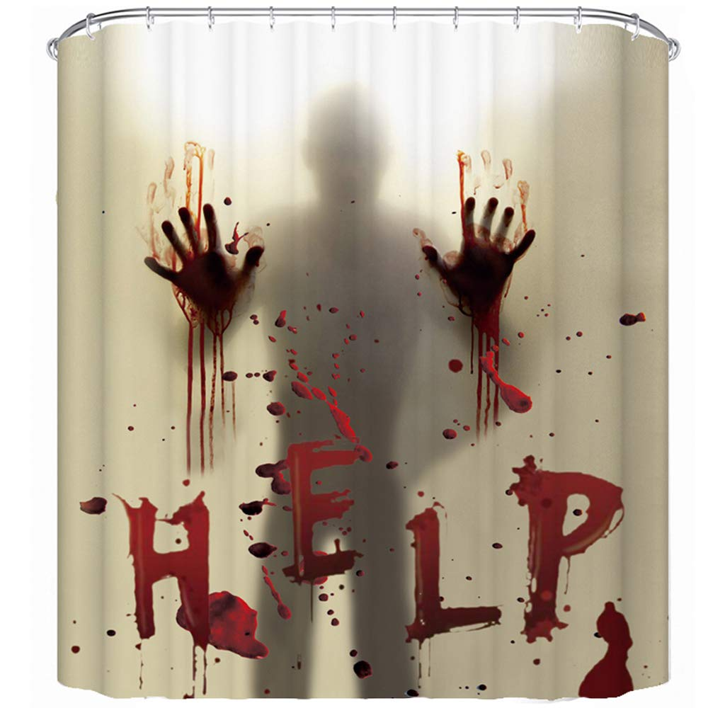 "CHICHIC 71""x71"" Halloween Shower Curtain Liner Window Curtains 100% Mildew Resistant Waterproof Antibacterial Polyster, Help Me with Bloody Hands for Halloween Decorations Theme Decor Props Bathroom"