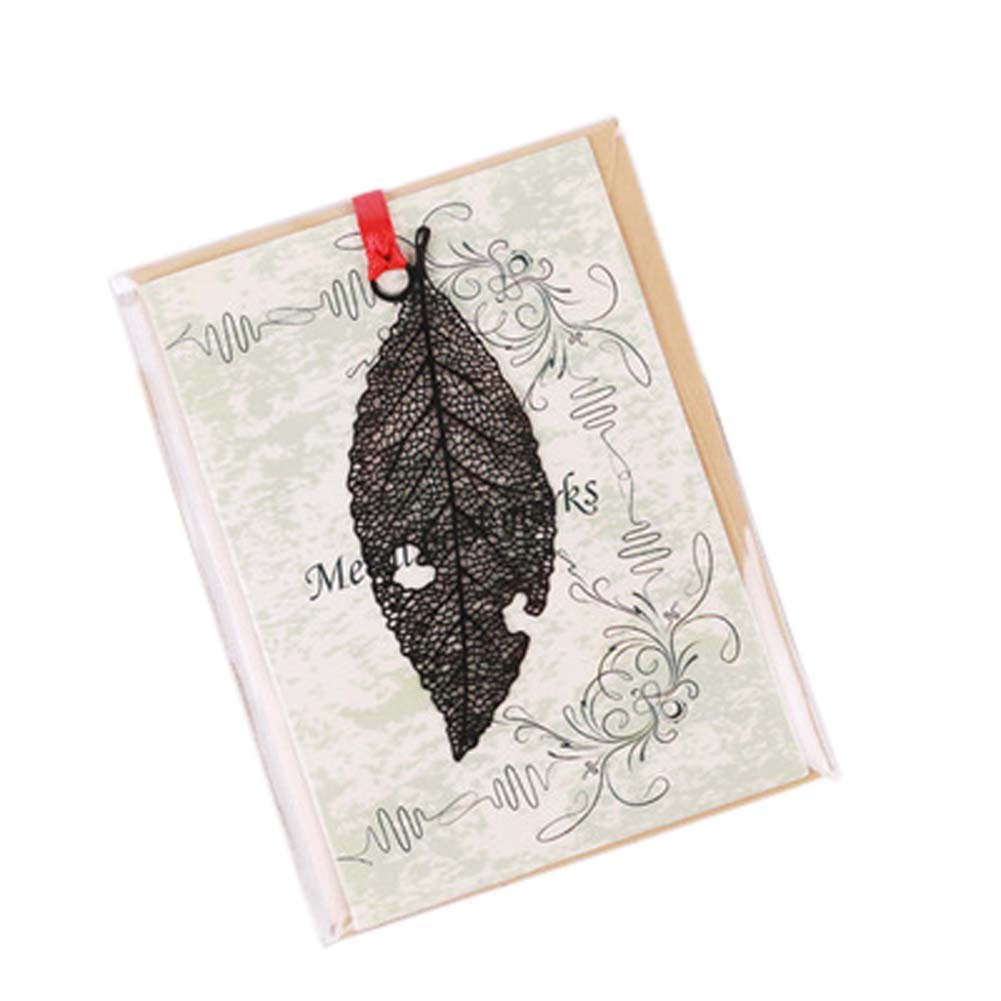 3 Pcs Hollowed-out Black Metal Bookmark Classical Chinese Style Retro Bookmarks Gift, Leaf