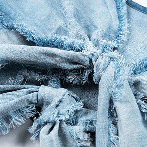 Bleu T URSING Rservoir Expos Solide Pansements Blouse Femmes sans Bra Bretelles Denim Tank Chemisier Tops Shirt Cravate Court Sexy Nombril Vintage Vest Manches sans qRfqg