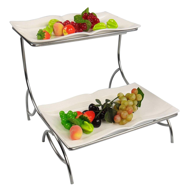 フルーツバスケット 2段フルーツ収納/野菜/農産物ステンレスバスケットラックディスプレイスタンドフルーツボウル   B07QPSHQSQ