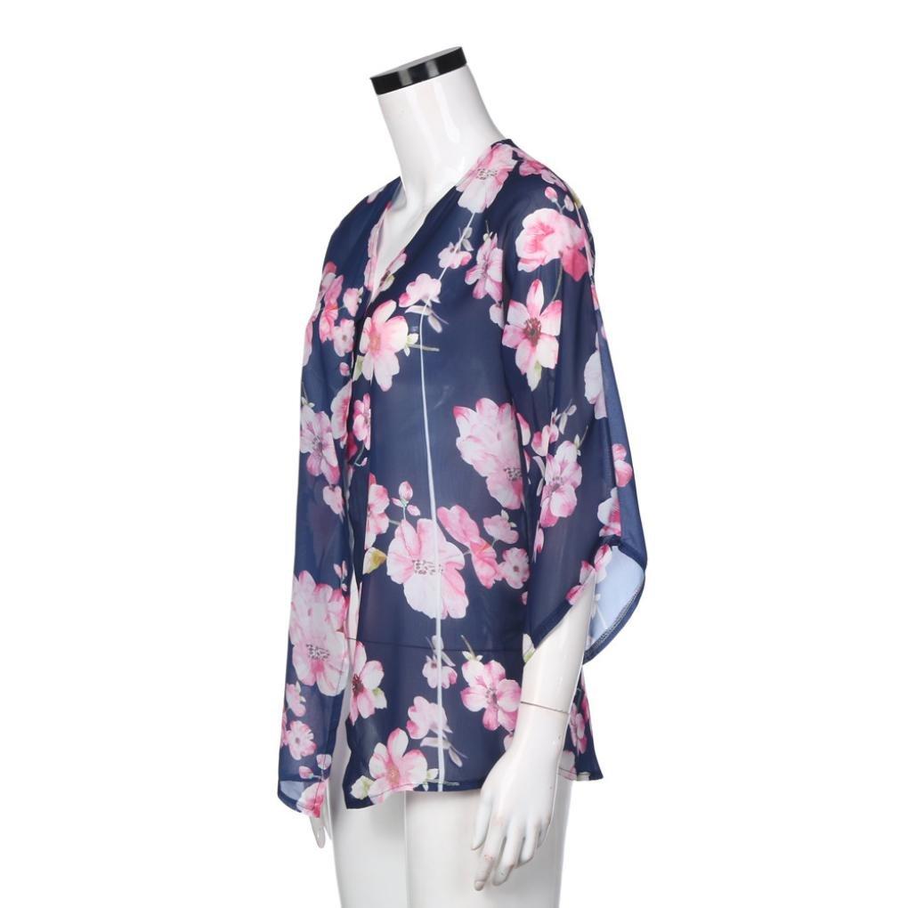 Goodsatar Mujer Estampado floral playa Gasa Kimono suelto de chal Cárdigan Blusa de la cubierta: Amazon.es: Ropa y accesorios