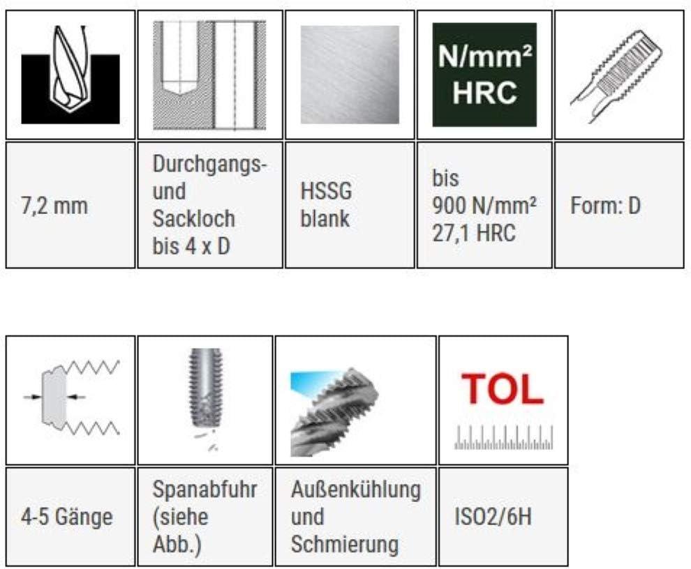 HSSG Einschnittgewindebohrer Form D Gewindeschneider Maschinengewindebohrer MF 8 x 0,75