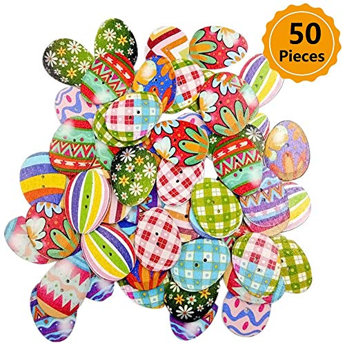 50Pcs Mixed Easter Egg 2 Hole Scrapbooking Cute Cartoon Wood Sewing Buttons 31x24mm(1-2/8x1 - Buttons About Bunny