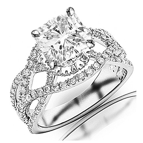 1.75 Ctw 14K White Gold Eternity Love Intertwine Twisting Split Shank Pave-set Round GIA Certified Diamond Engagement Ring Cushion Cut (1 Ct J Color VVS1 Clarity Center Stone)