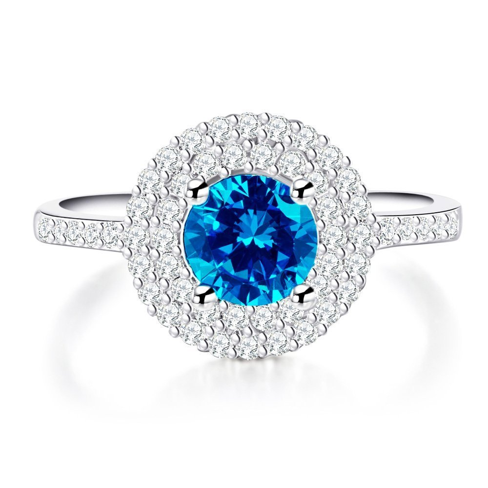 AndreAngel Women Ring White Gold/Top Quality Blue Cubic Zirconia Lab Diamond Carat AAA+ Princess Cut/Bridal Birthday Dating Gift Anniversary Promise Engagement or Wedding Size 7 Mother's Day