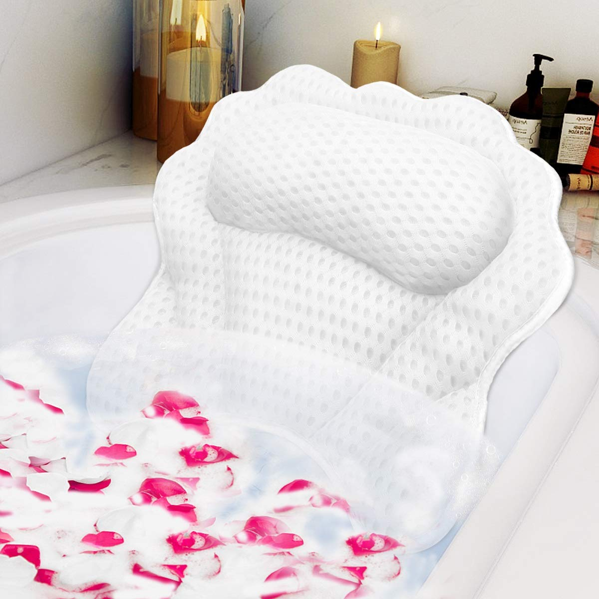 Bath Pillow RUVINCE Ergonomic Luxury bathtub pillow with head,Neck, Shoulder and back support, 4D bath pillows for tub with 6 Powerful Suction Cups, Fits all Bathtub, Spa Tub, Hot Jacuzzi
