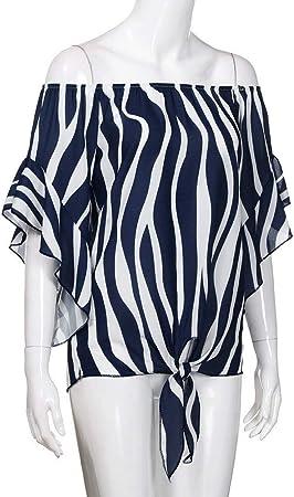 TUDUZ Blusas Mujer Manga Corta Verano Camisas Rayas Fuera del Hombro Camisetas Moda 2019