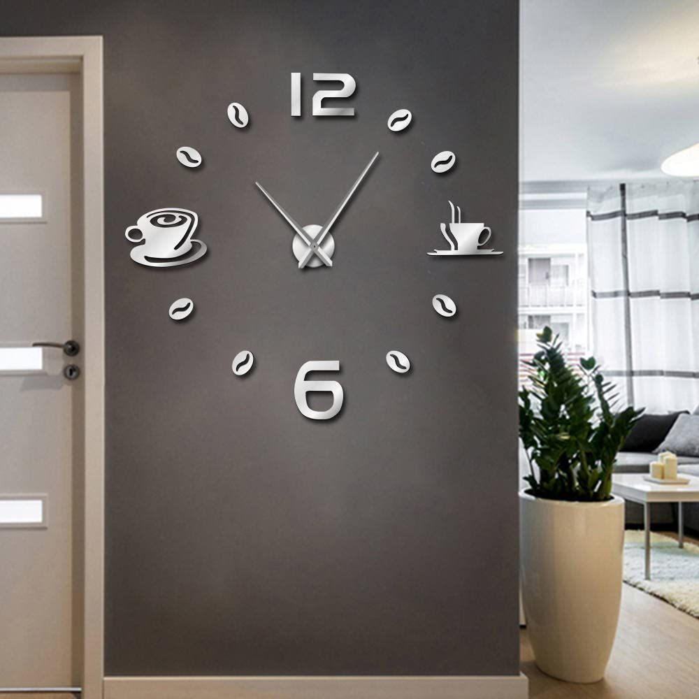 The Geeky Days Cafe DIY Large Wall Clock Frameless Giant Wall Clock Modern Design Cafe Coffee Mug Coffee Bean Wall Decor Kitchen Wall Watch (Silver)