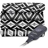 zebra heated blanket - Sunbeam Heated Electric Throw Blanket Fleece Extra Soft, Black and White T