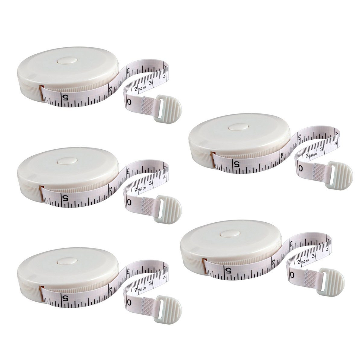 eZAKKA Tape Measure 60 Inch Push Button Retractable Soft Tape Measure Measuring Retractable Tape for Sewing Tailor Cloth Ruler, 5-Pack