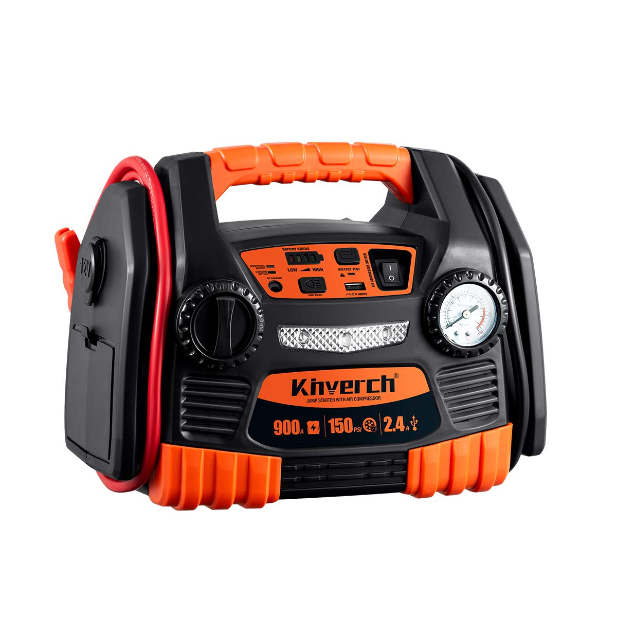Kinverch Portable Car Jump Starter 900 Peak Amp 12 Volt with 1-USB 1-12V Power Ports & 150 PSI Air Compressor