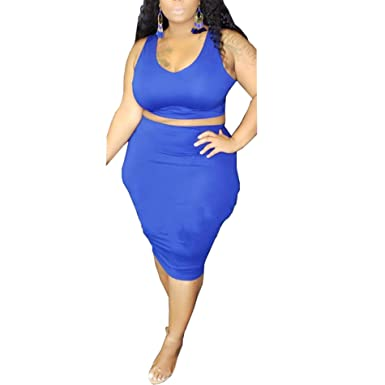 664070b917a08c Womens Sexy Plus Size Two Piece Outfits - Solid Tank Tops + Belted Summer  Bodycon Long