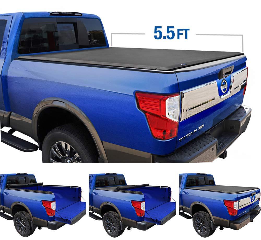 Soft Folding Truck Bed Tonneau Cover Fits 2017-2020 Nissan Titan w//o track system 5 5 Bed Lund Genesis Tri-Fold 95082