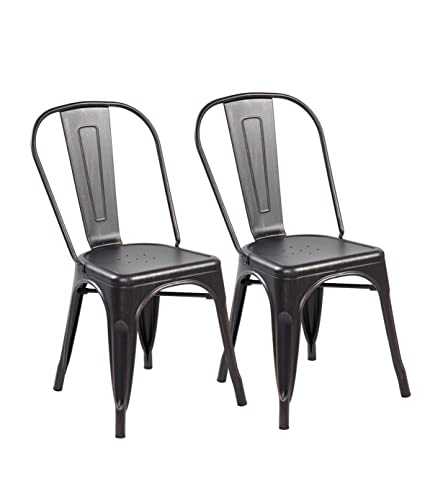 Eurosports Tolix Style Chair 3004 ABB 2 Metal Kitchen Dining Chairs With  Back,