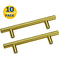 Kitchen Cabinet Handles Brushed Brass Pulls Cupboard Drawer Door Handle Dresser Pulls and Knobs for Modern Home (Hole…