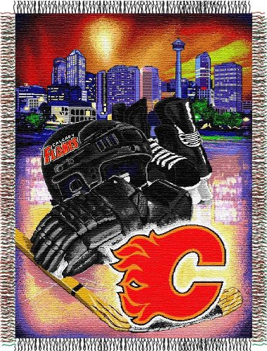 Calgary Flames Blanket (Officially Licensed NHL Calgary Flames Homefield Ice Advantage Woven Tapestry Throw Blanket, 48