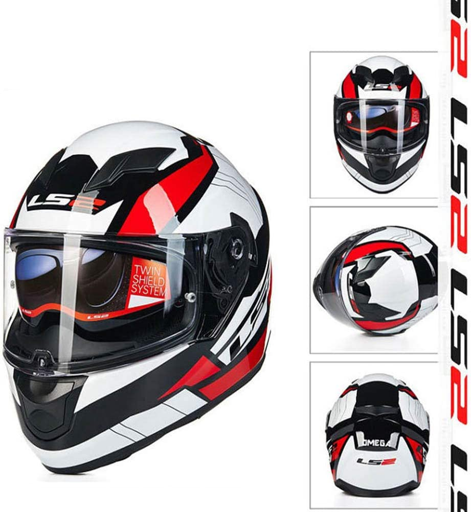 MAKE FINE Motorcycle Helmet Modular Anti-Collision Full Coverage Helmet ECE R2205 Certified Double Sun Visor Combined Motorcycle Helmet Locomotive Full Face Helmet,Red,XL