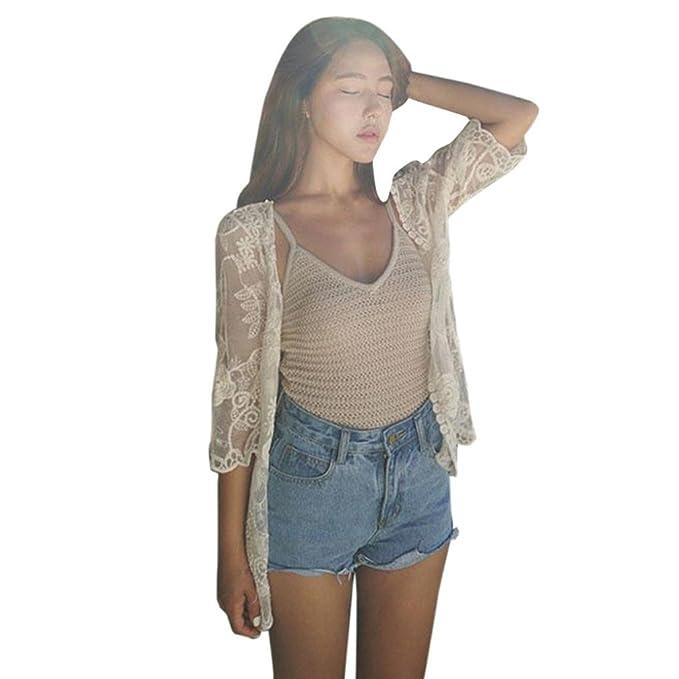 DEELIN Ladies Summer Lace Beach Chal Flojo Chaleco Kimono Camisa Blanca Camisa Blusa (S,