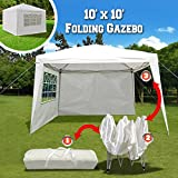 BenefitUSA EZ POP UP Wedding Party Tent 10'x10' Folding Gazebo Beach Canopy W/Carry Bag & 4 Sidewalls & Side Panel