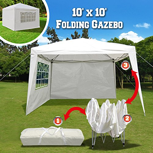 BenefitUSA EZ POP UP Wedding Party Tent 10'x10' Folding Gazebo Beach Canopy W/Carry Bag & 4 Sidewalls & Side Panel (Powder Palm Coating Springs)