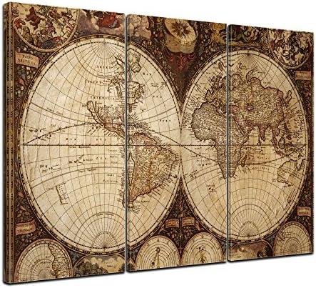 Bilderdepot24 Cuadros en Lienzo Mapa del Mundo del Vintage 120x80cm 3 Piezas - Enmarcado Listo Bastidor Imagen. Directamente Desde el Fabricante: Amazon.es: Hogar