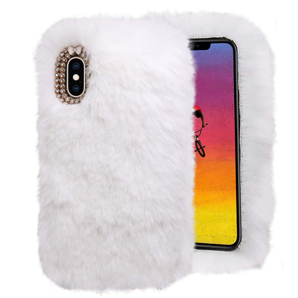 LCHDA kompatibel mit Pl/üsch H/ülle Samsung Galaxy S7 Flauschige Hasen Fell H/ülle Handyh/ülle Warm Weich Kaninchen Pelz Niedlich Hase Handytasche Sch/ützend Sto/ßfest TPU Silikonh/ülle-Lila