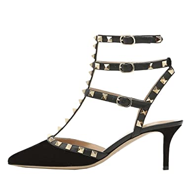 ce4254d9e05 Lutalica Women Studded Sandals Pointed Toe Ankle Straps Kitten Heel Shoes  Suede Black Size 7 US  Amazon.co.uk  Shoes   Bags