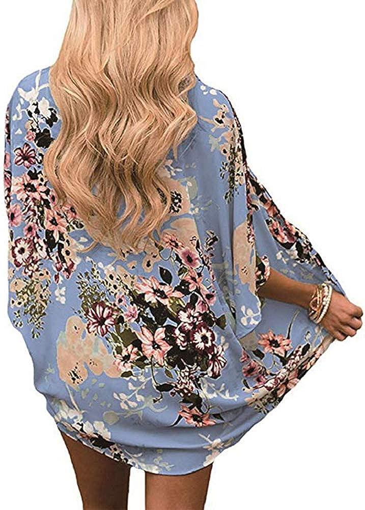 YULOONG Damenmode Bademode Vertuschung Chiffon Blumendruck Kimono Lose Schal Strickjacke Sommer Bluse Bademode Capes