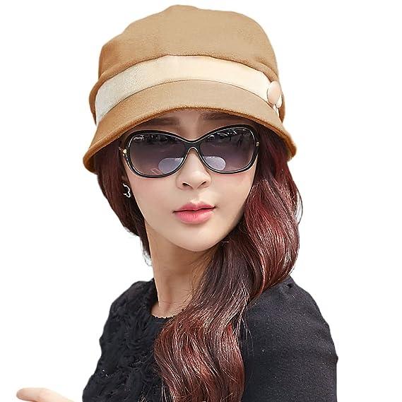 Siggi Cloche Round Hat for Women 1920s Fedora Bucket Vintage Winter Hats  Camel eec7fc1542ff