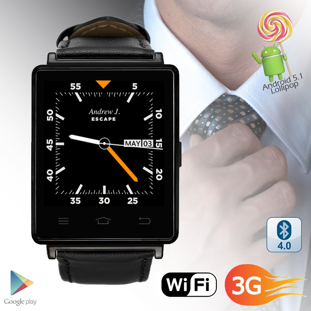 Indigi NEW 2017 3G Android 5.1 Smart Watch Phone (GSM Factory Unlocked) Maps + WiFi + GPS + Google Play Store