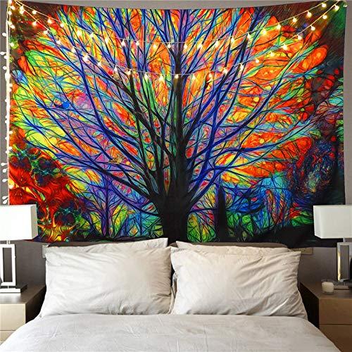 GFEU Beau Arbre tentures murales Tapisserie psych/éd/élique For/êt avec oiseaux Tenture murale Bohemian Mandala hippie Tapisserie D/écorations Parfait pour chambre /à coucher Salon Dortoir