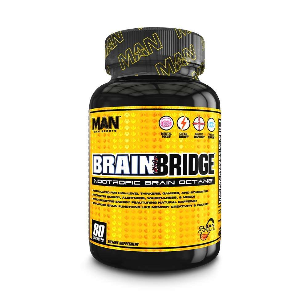 Man Sports Brainbridge Nootropic Brain Octane Booster Supplement, 80 Capsules