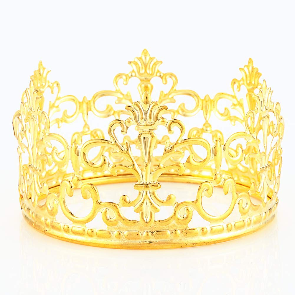 HYOUNINGF Gold Crown Cake Topper Elegant Cake Decoration For King, Queen, Prince And Princess Themed Parties, Royal Birthday Cake Decoration