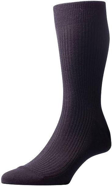 Black Pantherella Mens Naish Rib Over the Calf Merino Wool Socks
