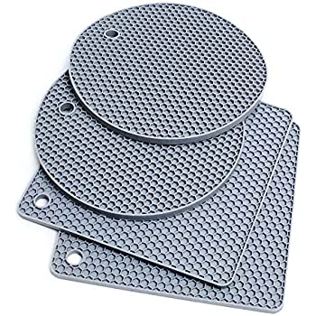 Extra Thick Silicone Trivet Mat Heat Resistant Pot Holders Hot Pads Multi-Purpose Table Placemats for Hot Dishes and Table - Kitchen Potholders for Jar Opener, Spoon Holder, Oven Mitts (4 Pack Gray)
