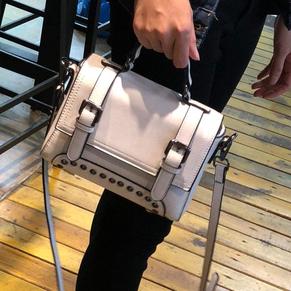 Color : A JINGB Leather Female Bag Korean Style Rivet Oil Wax Cowhide Handbag