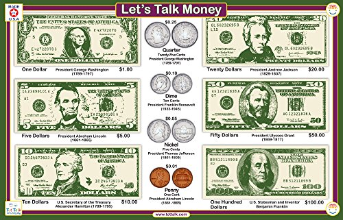 Tot Talk Money Educational Placemat for Kids, Washable and Long-Lasting