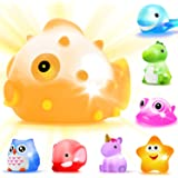 Bath Toys, 8 Pcs Light Up Floating Rubber animal Toys set, Flashing Color Changing Light in Water, Baby Infants Kids Toddler