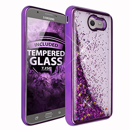 TJS Case for Samsung Galaxy J7 Sky Pro/Galaxy J7 Perx/Galaxy J7 V/Galaxy Halo/Galaxy J7 Prime, [Tempered Glass Screen Protector] Glitter Liquid Chrome Bump Hybrid Shockproof Motion Armor (Purple)