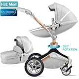 Hot Mom Kombikinderwagen 3 in 1 Funktion mit Buggy und Babywanne 2018 neues Design, Baby Autoschale separate erhältlich - komplett Grey