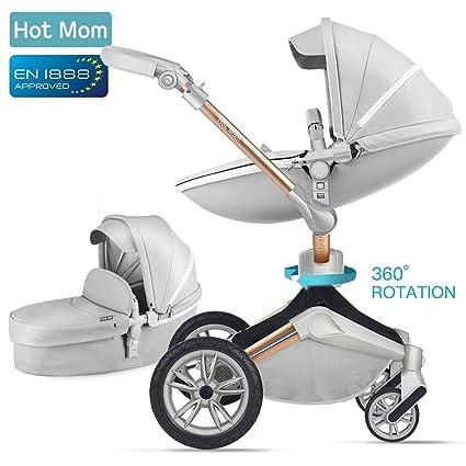Hot Mom Silla de paseo Reversibilidad rotación multifuncional de 360 grados con buggy asiento y capazo 2019 Nueva actualización - F023 Gris