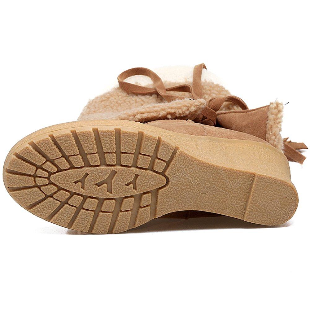 7f28a7fa29 BIGTREE Botas altas hasta la rodilla Mujeres Casual Lace Up Wedge Otoño  Invierno Cómodas Botas largas cálidas Amarillo
