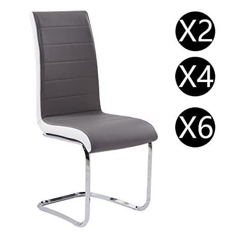 Gizza, sedie moderne per sala da pranzo in pelle sintetica, grigie e ...