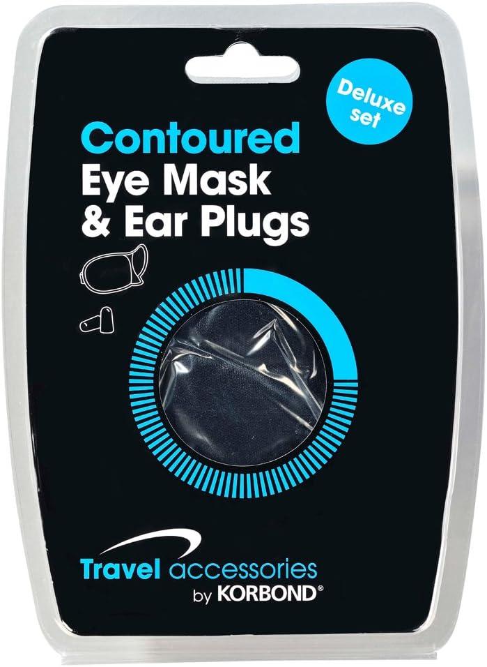 18 cm Black Korbond Contoured Eye Mask and Ear Plugs Set Packing Organiser