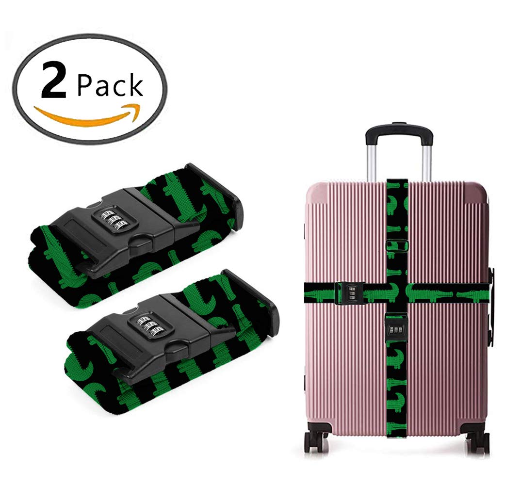 ART TANG Luggage Strap, Adjustable Straps Cartoon Green Alligator Suitcase Belt with Security Lock