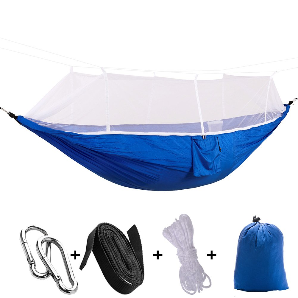 MIYA LTD Camping Double Hammock With Mosquito Net, Portable Lightweight Backpack Outdoor Garden Hang BED Travel Hiking Camping Swing Survival Hangmat Parachute-A07