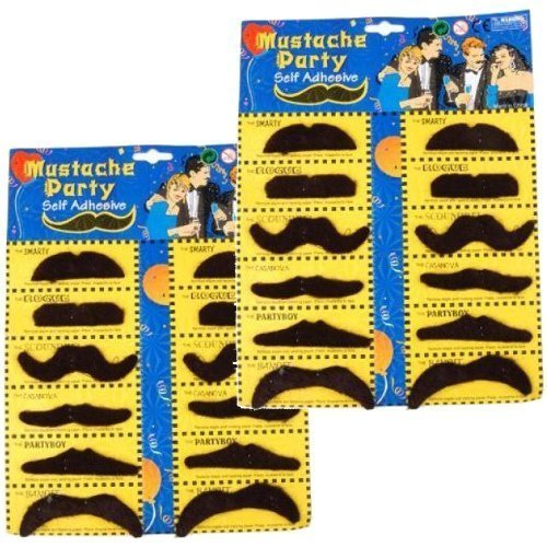 2 Self Adhesive Set 12 Fake Mustaches Costume Party Disguise for Masquerade Party & (Baby Bandit Costume)
